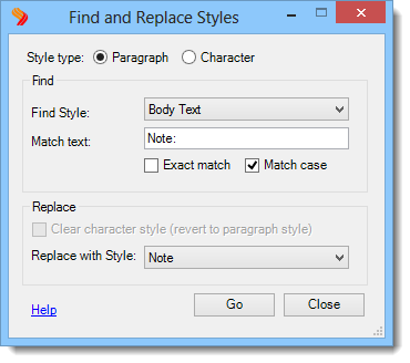Find and Replace Styles Plug-in Screenshot